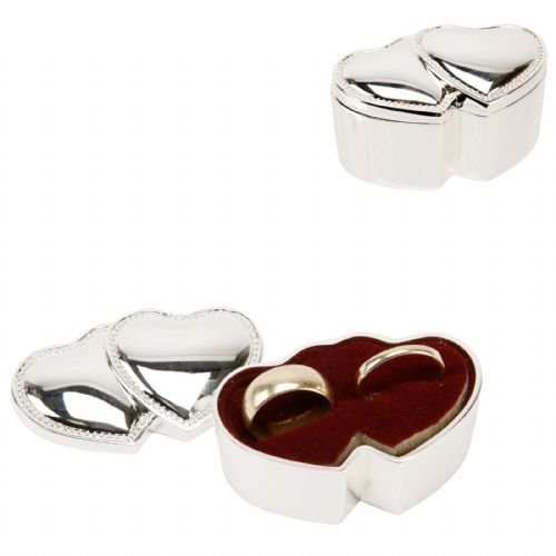 Double Heart Silver Plated Ring Box Wedding Gift